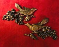 2 Vintage MCM Bird Dogwood Wall Plaque Antique Gold Finish Dart Syroco Homco