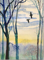 ACEO PRINT OF PAINTING CROW RAVEN RYTA REALISM LANDSCAPE ART TREES SUNSET LOVE