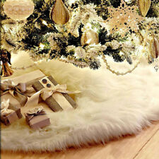 78cm Long Snow Plush Snowflake Christmas Tree Skirt Base Floor Mat Cover Decor