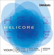 More details for d'addario h310 3/4m helicore violin string set, 3/4 scale, medium tension