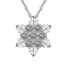 Made With SWAROVSKI ELEMENTS CRYSTAL White SnowFlake Pendant Frozen Necklace