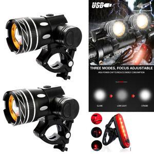 LED Akku Fahrrad Beleuchtung Set 20000lm Licht Lampe Scheinwerfer Rücklicht DHL
