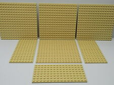 Lego 7 pc. Studded Base Plate,s Lot Tan {WASHED}