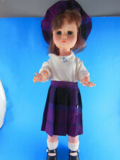 "VINTAGE 18.5"" DOLL BY RELIABLE CANADA Blue sleep eyes Wool hat and skirt PRETTY"