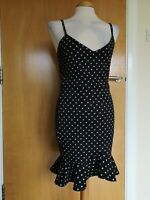 Ladies BOOHOO Dress Size 12 Black White Spotted Wiggle Party Evening Wedding