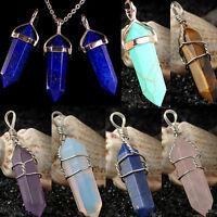 Crystal Quartz Healing Point Chakra Gem Bead Stone Pendant for Necklace