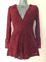 Young Bohemians Lace Playsuit With Fluted Sleeves Size UK 4 Festival Holiday