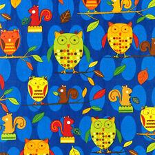 Robert Kaufman Animal Party Too Woodland Owls Earth Fabric
