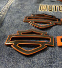 "Harley CVO custom metal tank emblems 3.7"" black with orange pinstripe"