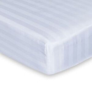 Luxury Hotel White Super King Egyptian Cotton Stripe Fitted Sheet 32cm Corner
