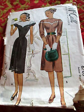 Vtg 30s Glamour Dress McCall 6763 Bust 33 sz 15 Sewing Pattern