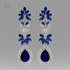 Rhodium Plated Blue Crystal Rhinestone Wedding Drop Dangle Earrings 04733 New