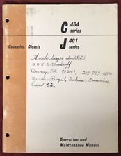 1968 Cummins Diesels C and J Series -Shop Manual-Operation and Maintenance