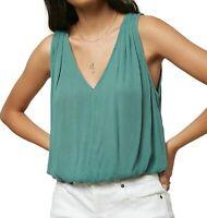 O'Neill Womens Knit Top Green Size Small S Pleat V-Neck Elastic-Waist $38 034