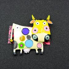Cattle Charm Animal Brooch Pin Betsey Johnson Multi-Color Enamel Cute Dairy