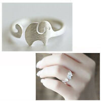 Fashion Silver Plated Elegant Matte Elephant Lady Open Party Ring Cocktail