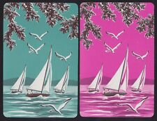 2 Single VINTAGE Swap/Playing Cards YACHTS + GULL BIRDS ID 'SAILBOAT TM-8-24'