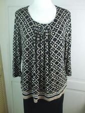 Croft & Barrow Jersey Knit Top Tunic Scoop Neck Casual Black Beige 3/4 Sleeve XL