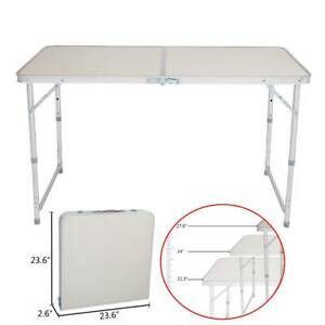 Portable Folding Table White 4FT Camping Car Boot Picnic BBQ Desk Party Outdoor