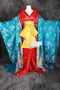 K-A8 Original Tradition Japan Geisha Kimono Damen 7-Teile Luxus Kostüm Cosplay