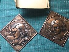 Vintage Albert Gilles copper wall plaques pair of women