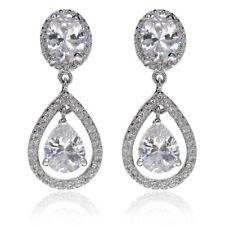 Bridal Cz Cubic Zirconia - Crystala Swinging Beauty Queen Earrings 1.8 carat