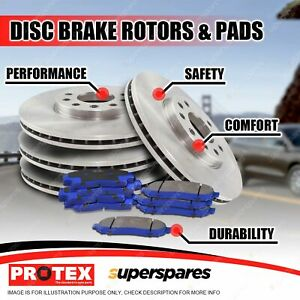 Front + Rear Protex Disc Brake Rotors Brake Pads for Nissan Patrol Y61 GU Series