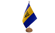 Barbados Small Table Flag with Wooden Stand