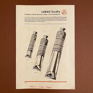 Vintage Werbung ALT 23x16cm Lukas Studio Farben Ölfarbe Faltblatt Malerei Kunst