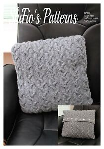 Knitting Pattern for Cable Cushion Cover, Pillowslip Knitting Pattern, 2 Size...