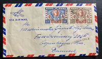 1946 Hong Kong Airmail Cover to Copenhagen Denmark Peace Stamp Set Issue