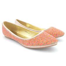 Ladies Flat Ballet Ballerina PUMPS Plain Womans Work School Dolly Shoes Size 3-9 9 1185-2 Gold