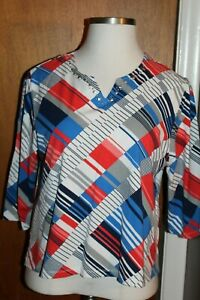 ALFRED DUNNER WOMEN'S TOP WHITE/MULTICOLOR SIZE-PXL 3/4 SLEEVE 95% COTTON MINT
