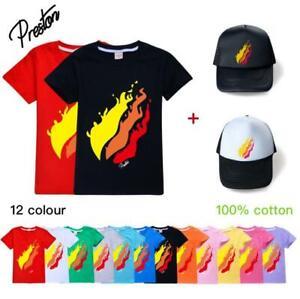 Preston Flame Boys Girls T-shirt Summer Short Sleeve Tee Top Kids Basketball Cap