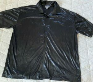 Vintage 1990s Club POP ICON Shiny Metallic Oilcloth Disco Button Up Shirt Sz XL