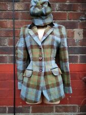 Harris Tweed  hacking jacket blazer  12 shooting country with hat velvet collar