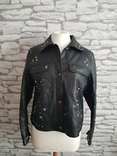 Next Black Faux Leather Studded hearts n stars Jacket 16 uk petite bnwt rrp £79