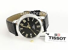 Men's Leather Strap Tissot T0334102605301 Watch with Black Dial - Gold Markers