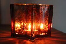 Schönes großes Windlicht aus Glas in Sternform♥Bauernsilber braun/gold♥H 10 cm