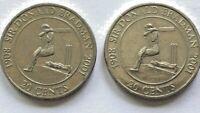 🇦🇺2x 2001 Australian 20 Cent Coins Sir Donald Bradman Low Mintage📮FREE Post