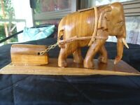 HAND CARVED WOODEN ELEPHANT PULLING A LOAD GREAT DETAIL NEW $10.50 o.n.o