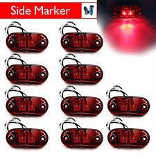 "10Pcs Red LED Lamp 2.5"" 2 Diode Oval Clearance Trailer Truck Side Marker Light"