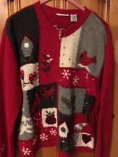 Red, Black, White Christmas Sweater, Red Birds, Snow Flakes, Pine Mittens Hearts