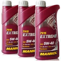 5W-40 Motoröl 3x1L MANNOL Extreme API SN CF ACEA A3 B4 502 00 505 00 VW AUDI