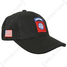 Black US 82nd Airborne Baseball Cap - All American Sun Peak Hat Army Military