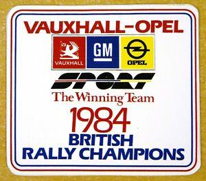 Vauxhall GM Opel Sport 1984 British Rally Champions Motorsport Sticker / Decal