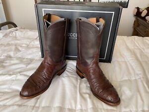 Lucchese Zane Sienna Brown Pin Ostrich Roper Cowboy Boots, Size 11.5EE w/Box