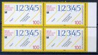 Deutschland Bund 1993 Mi. 1659 Postfrisch 100% Postleitzahlen, vierer block