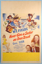1941 W.C. Fields Never Give A Sucker An Even Break Original Movie Window Poster