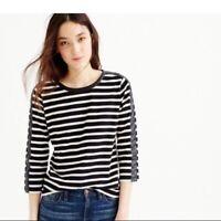 J Crew Womens Top Size XXS Striped T-shirt with back zipper